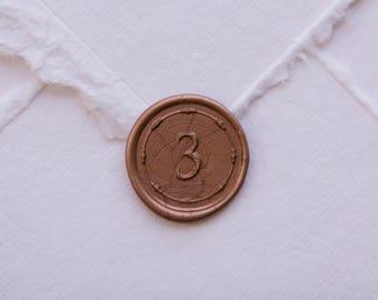 3 Wax Seal, number 3 seal, three seal, number seal