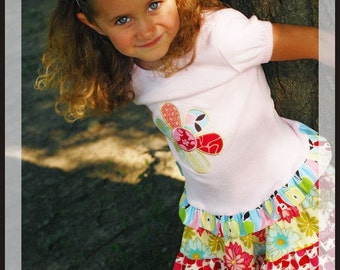Boutique Applique Butterfly or Flower Tee Custom Name 2t-14