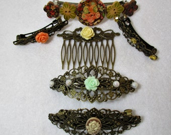 6 Vintage style Hair Barrette Clips decorated wood buttons hair comb bridal hair comb Wedding Hair Combs & Clips Hair Accessory lot HC2-148