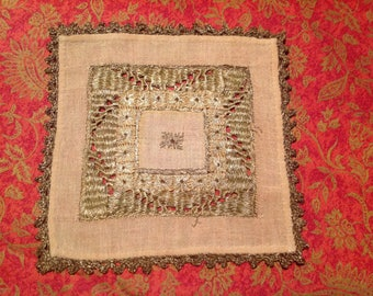 Old square, linen, inlay or mini placemat