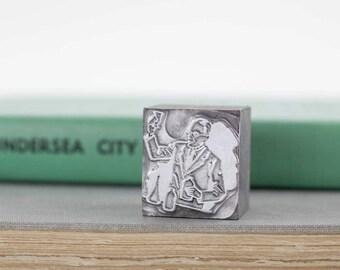 Vintage Man Bartender Chemist Printers Stamp, Printing Block Metal Letterpress Stamp, Printing Press Stamp, Altered Art Supply
