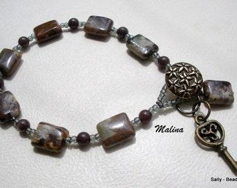 Jasper Bead Bracelet, Brown Stone Bracelet, Key Charm Bracelet, Jasper Bracelet Jewelry