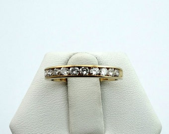 Simple Channel Set Diamond 14K Gold Band #62DIAYG-B1