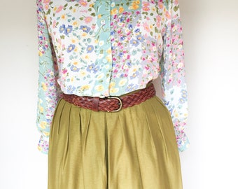 Floral Garden Blouse, Sheer Blouse, Womens Vintage Clothing, New Zealand, Top, Womens Blouses, Lazy Day Vintage, Size 8-10 US  10-12 UK, D