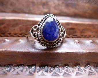 Blue Iolite Sterling Silver Solitaire ring~ 925  silver Beaded and spiral work