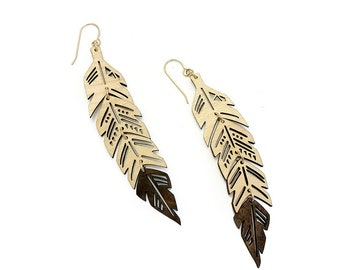 Wood Feather Earrings Natural Boho Wooden Leaf Jewelry Unique Gold Silver Jewellery Light Dark Statement Dangly TIERED FEATHER EARRINGS