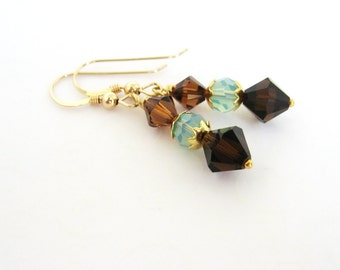 Aqua Blue and Brown Earrings, Swarovski Crystal Drop Earrings, Gold Filled Earrings, Brown and Aqua Blue Jewelry, Bicone Earrings