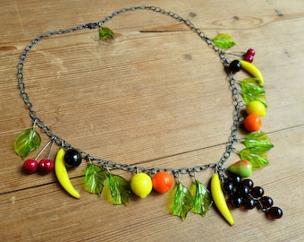 Fruit salad necklace, 40's 50's inspired lampwork fruit necklace, glass fruit.  Sterling silver.