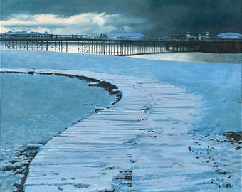 Snow on the boardwalk with Brighton pier, oil on canvas Giclée print