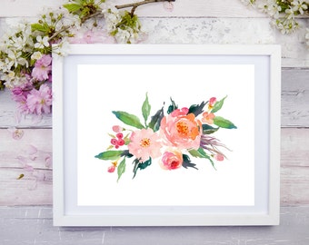 Watercolour Flower  10 x 8, Printable Wall Art, Digital Art, Digital Print, Instant Download