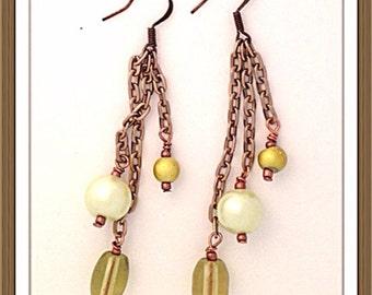 Handmade MWL long green dangle pearl earrings. 0069