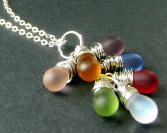 STERLING SILVER Wire Wrapped Cluster Necklace with Frosted Glass Teardrop Charms. Handmade Jewelry.