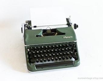 Vintage Green Olympia SM3 Typewriter Working Typewriter 50s 60s