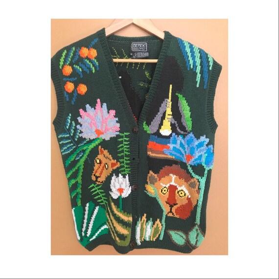 Vintage Berek Hand Knit Safari Animal Sweater Vest Vintage 80's Sweater Vest Ugly Sweater Party Men's Vintage 80s Sweater Vest SIZE MEDIUM q7NRn4Yyy