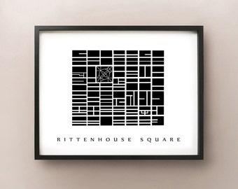 Rittenhouse Square Map - Philadelphia Neighbourhood Art Print