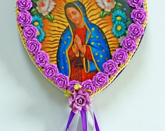 La Virgen De Guadalupe, Mother Mary, Our Lady Of Guadalupe, Wooden Wall Plaques, Gifts For Mom, Religious Art, Art and Collectibles, Hearts