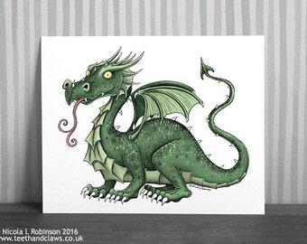 Dragon Art Print, Dragon Art, Green Dragon Print, 10 x 8 Print, Dragon Wall Art, Nursery Art, Dragon For Kids, Green Dragon Illustration
