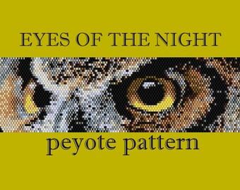 The Eyes of the Night - Pattern for peyote beaded bracelet - Owl bracelet  - Artisan jewelry scheme