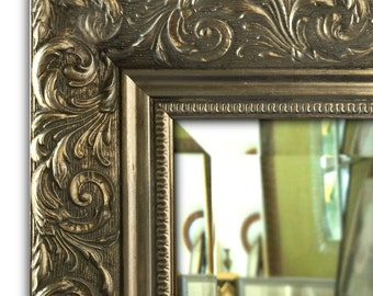 Bella Ornate Embossed Framed Wall Mirror Antique Silver Gold Finish
