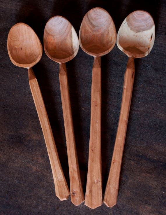 Hand Carved Wooden Iced Tea Spoons
