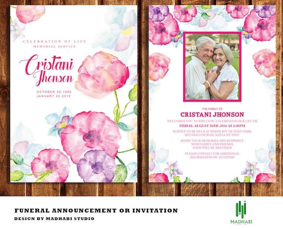 Beerdigung Einladung oder Ankündigung Karte 5 x 7 Beerdigung