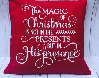 Christmas Decorative Pillow Cover, christmas pillow, christmas decor, holiday, red pillow cover, christmas quote