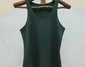 tank top - 100% hemp and organic cotton hand dyed in pine green - small