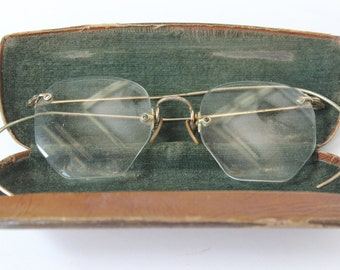 Antique Shuron Glasses with Case Gold Filled Wrap Around Arms Octagonal Rimless Bifocal