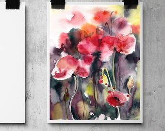 Abstract Botanical Fine Art Print, Red Poppies print, watercolor painting print, floral modern wall art print
