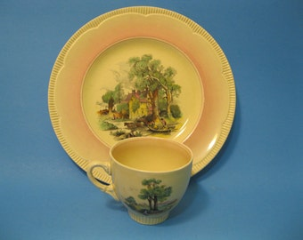 Clarice Cliff Plate and Cup, Pink Rimmed, Rural Scene, made for Newport Pottery England, 1943