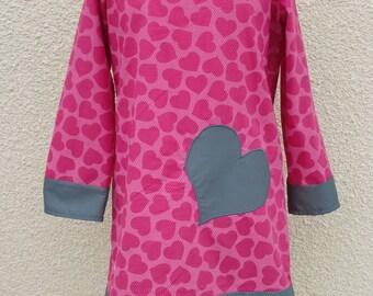 PRETTY HEART GIRL DRESS HAS COTTON 3/4 YEARS LONG SLEEVE