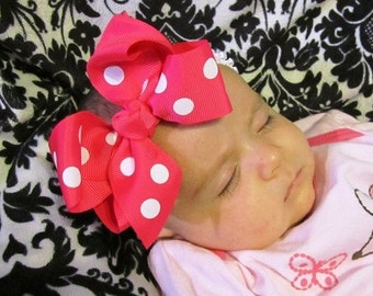 Pink and White Dot Boutique Bow and Interchangeable Headband