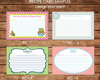 Personalized Recipe Cards - Design your own - Choose ONE DESIGN