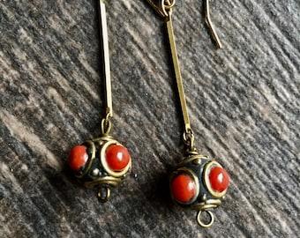 Coral Earrings,Coral Earrings Gold,Gold Coral Earrings,Tibetan Earrings,Coral Jewelry,Tibetan Jewelry,Ethnic Earrings,Dangle Coral Earrings