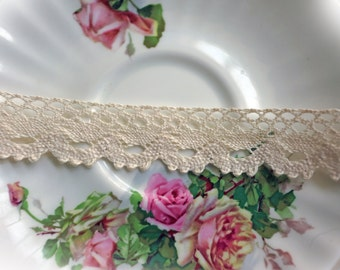Reneabouquets Trim- Natural Cotton Crochet Cluny Lace 002, Vintage Lace, Wedding Trim, Sewing, Scrapbook, crafts