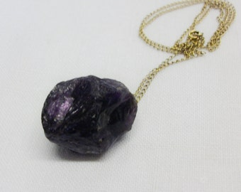 Vintage Raw Amethyst Pendant with Gold Chain