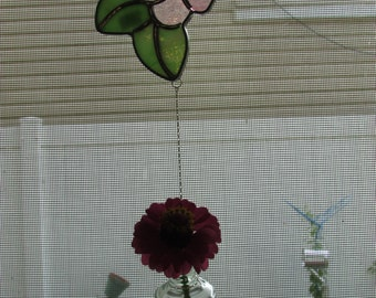 Stained Glass Flower Suncatcher with Hanging Bud Vase, Pink Flower Suncatcher, Hanging Bud Vase