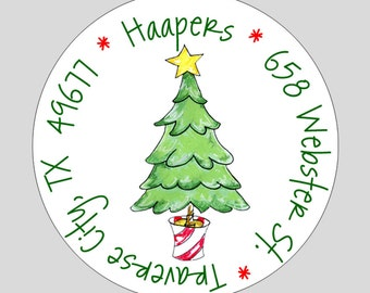 40 Personalized Christmas Tree Address Labels // Tree Gift Stickers
