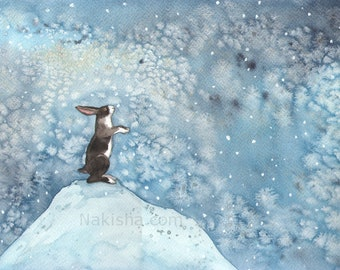 RESERVED for LS - Original Art -  First Snow - Watercolor Rabbit Painting