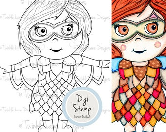 Owl Girl, Digi Stamp, Fancy Dress, Owl Clipart, Girl Character, Animal, Colouring Page, Instant Download, Printable Card Topper, Colouring