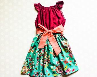 Teal Floral Dress - Sleeveless Dress - Girls Spring Dress - Girls Dress - Baby Girl Dress - Girls Dresses - Summer Dresses for Girls
