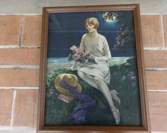 """vintage 1920's flapper lithograph pint collectible 16"""" x 21"""" art deco bonnet"""