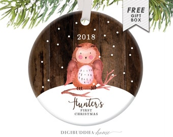 Baby's First Christmas Ornament Little Owl Ornament Personalized Children's Ornament Baby Boy Ornament Rustic Faux Wood Ornament Baby Owl