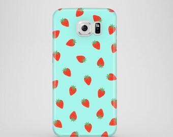 Tiny Strawberries phone case, mint iPhone X case, cute case, Samsung Galaxy S7, Samsung Galaxy S6, Samsung Galaxy S6 Edge, Samsung Galaxy S5