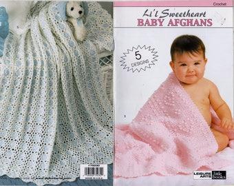 Crochet Pattern Li'L Sweetheart Baby Afghans Blankets - 5 designs Leisure Arts