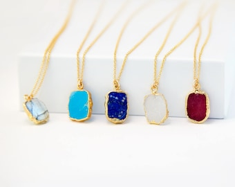 Gemstone Slice Pendant Necklace, Gold Edged Stone, 14k Gold Fill Chain, Layering Necklace, Gold Gem Choker, Gift for Friend, Jewelry Trends