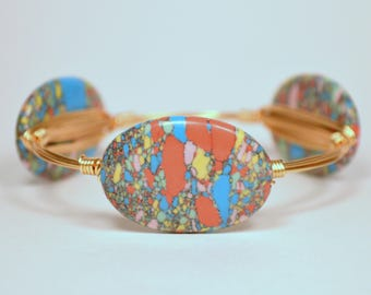 Multi-Color Pastel Bead Wire Wrapped Bangle