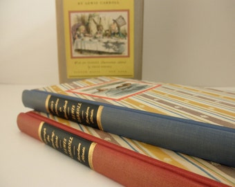 1940s Alice in Wonderland book set --- 2 books - Through the Looking Glass