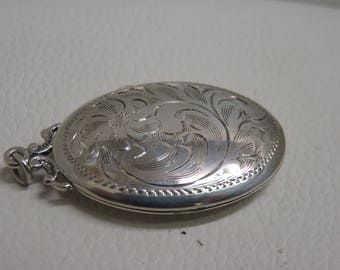 Vintage Birks Sterling Silver Locket Engraved Necklace Oval Pendant