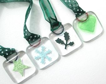 Christmas tree decoration, handmade fused glass hanging ornaments, festive window art, stocking filler stuffer, gifts exchange, Secret Santa